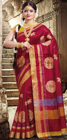 fbcb4298cf Enlightened Crimson Red Zari Wooven Silk Saree Work :-Heavy zari, Thread  Wooven embroidered Traditional Work butta with border work.