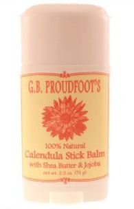 Calendula Stick Balm - 2.5 OZ. NET WT.     This easy to use, no mess stick combines the healing properties of the calendula flower with moisturizing oils of shea butter, coconut, and jojoba. This 2.5 oz. Stick balm is perfect for spot treating damaged skin and makes all over body moisturizing a breeze. Scented with oils of sweet orange it's fresh and bright fragrance is addictive.   Soothe freshly shaved legs or use on the back as a moisturizing massage stick...