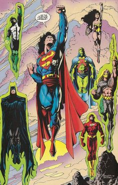 The JLA //art by Darick Robertson and Hannibal Rodriguez (1995)  Divided we may fall, but united we can stand now and forever