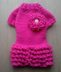 Dress for dogs Puppy clothes Sweater for dogs Dog dress Clothes for small dogs on order Chihuahua clothing York clothes Hoodies for dog size XXXS - XXS - XS - S - M - L - XL The dress is knitted from soft acrylic yarn. Yarn is soft, for children. Color bright pink (fuchsia) The