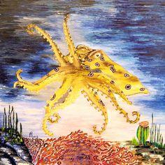 "Saatchi Online Artist Paul Costin; Painting, ""Octopus"" #art January 2012, oil on canvas, metallic oil paint, palette knife technique."