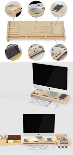 Wooden Unibody Monitor / iMac Stand  Office Desk Organizer Phone  Stand Holder Pen Holder  Over the Keyboard