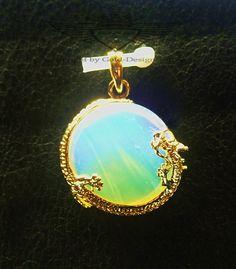 Anhänger, Drachenfassung, Opal, Rund, Edelstein, 24 Karat vergoldet, edel