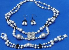 Gray Swarovski crystal pearls jet Marcasite silver by ElmsRealm, $50.00