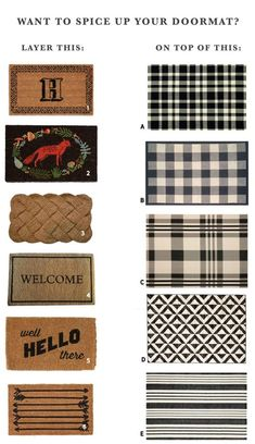 Mix And Match Layered Doormat Options + A Podcast Update Before we get into the meat of today's post, I wanted to give you a podcast update. It's hard to believe we have been doing The Chris Loves Julia Podcast with Preston Pugmire for 5 Front Door Porch, Front Door Mats, Front Door Decor, Fromt Porch Decor, Front Doors, Fromt Porch Ideas, Front Entry, Inside Door Mat, Front Porch Decorations