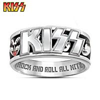 """Solid stainless steel ring with KISS® logo over a spinning band with officially licensed artwork. Etched with """"ROCK AND ROLL ALL NITE. Star Wars Chess Set, Kiss Merchandise, Kiss Logo, Rock And Roll Bands, Rock Roll, Kiss Band, Hot Band, Punk Jewelry, Stainless Steel Rings"""