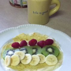 home made crepes and tea -breakfast with mama :)