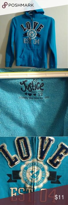 Justice Hoodie Justice Zip Up Hoodie size girl's 12 in great condition just a little cracking on letters in pics... Bundle and get fast shipping Justice Shirts & Tops Sweatshirts & Hoodies