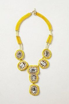 NEW Anthropologie Jewelry Yellow Beaded Jeweled Traced Mirrordrop Necklace  #Anthropologie #Bib