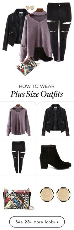 """plus size boot and sweater styles"" by xtrak on Polyvore featuring Zizzi, Steve Madden, Dsquared2, River Island and 14th & Union"