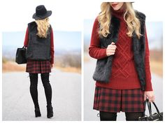 H&M burgundy plaid pleated mini skirt, TopShop black faux fur gilet vest, Brixton black wesley fedora, tights and thigh high boots, Stuart Weitzman Highland black suede over the knee boots