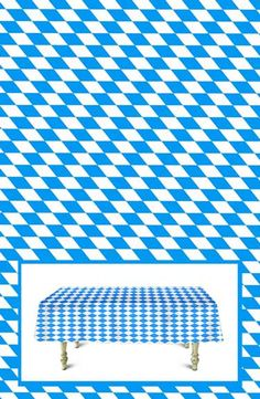 Bavarian Check Banquet Roll Table Cover, 100 Feet! Holding a big Oktoberfest Party? Cover your biergarten or banquet tables with this traditional Bavarian blue check plastic table cover! This roll of Oktoberfest table cover is 100 feet long and is made of a thin poly vinyl material. This non-perforated roll can be cut to covers 10 banquet or German Oktoberfest beer garden tables.