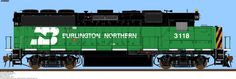 EMD GP50:  The Burlington Northern Railroad (BN) was a US railroad company formed from a merger of 4 major railroads. BN operated between 1970 and 1996. Its historical lineage begins in the earliest days of railroading with the chartering in 1848 of the Chicago and Aurora Railroad, a direct ancestor line of the Chicago, Burlington and Quincy Railroad.  BN purchased the Atchison, Topeka and Santa Fe Railway on December 31, 1996 to form the Burlington Northern and Santa Fe Railway (BNSF).
