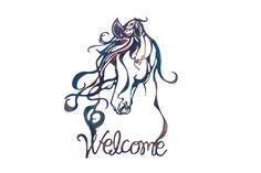 Horse with Flowing Mane Welcome Sign by VulcanixArt on Etsy