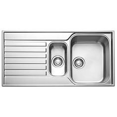 Franke Square Inset Sink S/Steel 1½-Bowl 1000 x 175mm | Stainless Steel Sinks | Screwfix.com £190 -5%