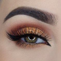 brick red and gold eyeshadow.