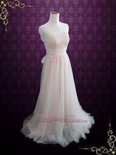 Blush Whimsical Lace Wedding Dress with Illusion Neckline | Sara | Ieie's Bridal Wedding Dress Boutique #BeachWeddingDress http://www.ieiebridal.com/collections/blush-wedding-dress
