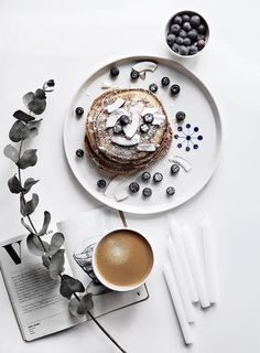 blueberry coconut pancakes and a cappuccino
