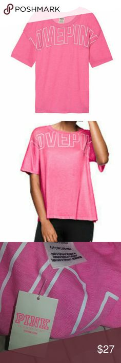 PINK Victoria's Secret Oversized Tee Brand new!! 💕 Pink tee with white lettering XS, S or M with oversized fit Crew neck Polyester/cotton blend Size S  :) PINK Victoria's Secret Tops