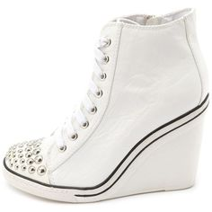 Studded Toe Lace-Up Wedge Sneaker ($46) ❤ liked on Polyvore