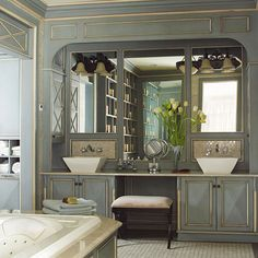This spacious vanity is perfect for a master bath. More bathroom vanity ideas:  http://www.bhg.com/bathroom/vanities/bathroom-vanity-ideas/?socsrc=bhgpin080313doublevanity=6