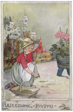 'Weeding Paths'. Anne Anderson illustration scanned from 'The Gillyflower Garden Book', c1915.
