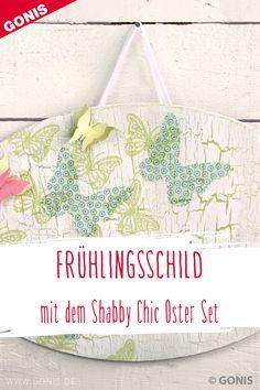 """Dieses hübsche ovale Schild mit dem Schriftzug """"Spring"""" versprüht gute Laune zum Anfang des Frühlings. Mit Antique, dem Krakelierlack von GONIS gelingen Ihnen schöne Shabby Chic Effekte."""