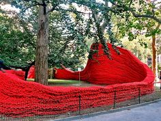 Orly Genger public art work at Madison Square Park Orly Genger Fashions Fishing Rope into Mesmerizing Red, Yellow and Blue Installation at M...