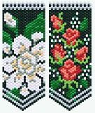 Gardenia & Tea Roses Flower Panels Pattern.   Sweetly scented Gardenias & tiny, romantic Tea Roses accented with delicate baby's breath are timeless favorites for weddings & spring formals. These panels are the same size & use the same background & leaf colors as my other flower panels & can be used interchangeably with those patterns.  Project Type: Bead Stitch: flat even count peyote