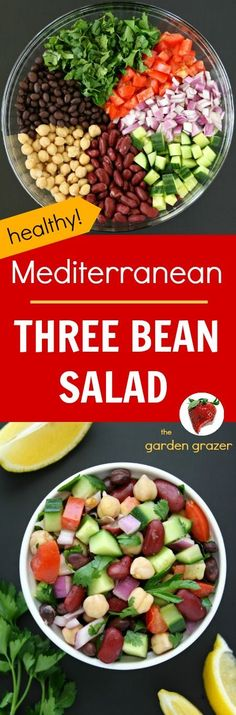 LOVE this fresh summer salad! Easy, refreshing, protein-packed Mediterranean Bean Salad with a bright lemony dressing and fresh herbs. Awesome for picnics and take-along lunches too! (vegan, gluten-free) , for Whole Food Recipes, Diet Recipes, Vegetarian Recipes, Cooking Recipes, Healthy Recipes, Easy Bean Recipes, Gluten Free Recipes For Lunch, Pulses Recipes, Recipies
