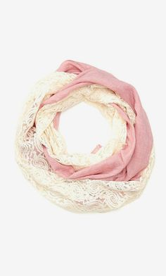 Knitspiration -- Cara Accessories Solid Lace Infinity Scarf, do a version of this in knitting i. laceweight lace w/solid fingering Pretty Outfits, Cute Outfits, Pretty Clothes, Work Clothes, Summer Accessories, Fashion Accessories, Boho Fashion, Fashion Beauty, Style Fashion