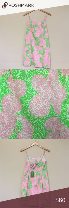 Lilly Pulitzer never worn tags on dress Lilly Pulitzer green pink white print dress new with tags never worn. Gold zipper in back Lilly Pulitzer Dresses Mini
