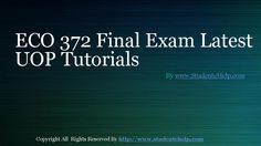 The ECO 372 Final Exam Latest UOP Tutorials paper is designed to make the students aware about the core of business operations and the various challenges it is accompanied with. Establishing a business is not a one-step activity. It involves a series of carefully followed steps to result in the formation of a successful business plan.