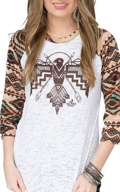 Ali-Dee Collection Women's White Thunderbird 3/4 Aztec Raglan Sleeve Top | Cavender's