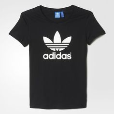 adidas Trefoil Tee ($30) ❤ liked on Polyvore featuring tops, t-shirts, adidas tee, pattern tops, adidas, print t shirts and cap sleeve t shirt