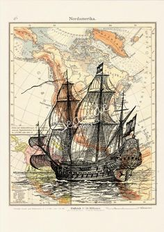 Mixed media A3 plus size Poster -Old Ship Poster with Vintage map form America- sea life A3 plus Wall decor  Poster. $20.00, via Etsy.