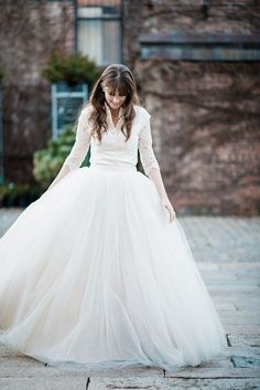 Love this unusual but totally bridal wedding dress with long sleeves! #wedding #bride #fashion