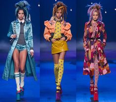 Marc Jacobs' collection for spring 2017 had an over-the-top approach to the club and disco youth culture, with an abundant and eclectic mix of prints, metallic and patent leather materials as well as shiny bedazzled embellishments. Accessories complimented each look with a variety of sky-high, retro platforms that were paired with knee-high socks in colorful patterns and embellishments. And let's not forget the mention the hair, the colorful dreadlocks styles made for a lasting impression!