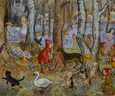 Large version- don't delete Fairy Tale Wood by Molly Brett (fairy tale characters including Red Riding Hood, Snow White, Puss in Boots etc. Fairy Tale Images, Charles Perrault, Serpentina, Wolf Spirit, Fairytale Art, Children's Book Illustration, Book Illustrations, Botanical Illustration, Red Riding Hood