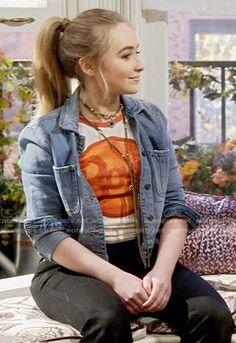 Maya's bowie t-shirt and denim jacket on Girl Meets World. Outfit Details: wornontv.net/58671/ #GirlMeetsWorld