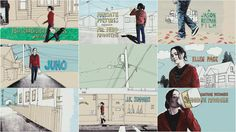 Juno - This is an image of the graphic sequence that is seen in the opening credits of the movie Juno. The image simply shows juno walking through her town.
