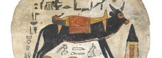 Foot-board from a coffin showing the sacred Apis bull carrying the mummy of the deceased [Firmament cow carrying the sun (or man)]