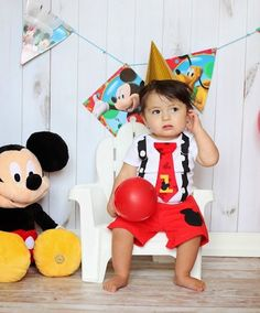 Mickey Mouse Birthday Tie and Suspender Onesie by shopantsypants, $36.00