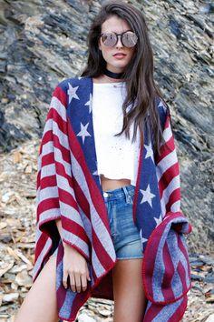 American Flag Sweater Poncho