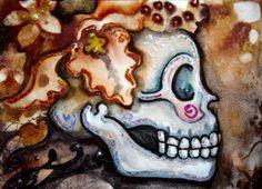 Luree art Original Day of the Dead FLORAL sugar SKULL dia de los muertos ACEO OH