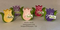 Tic Tac Tulips and May Tutorials | Just Stampin' Handmade Thank You Cards, Stampin Pretty, Treat Holder, Treat Box, Get Well Cards, Card Tutorials, Decoration Table, Card Kit, Paper Pumpkin