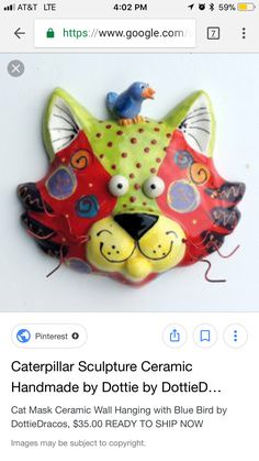 Cat Mask, Ceramic Wall Art, Ceramics Ideas, Blue Bird, Sculpture, Christmas Ornaments, Holiday Decor, Handmade, Christmas Ornament