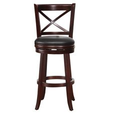 Furnistar Dark Brown Wood and Leatherette Cushioned Bar Stool with X-Back Chair. This beautiful high dining or bar chair is sure to be the envy of all your friends. Sip your drink or dine in style perched on a leatherette-upholstered seat with a wood back with X detail. The four legged base features curved feet and a reinforced central hoop/footrest. The PVC leather material is easy to wipe clean of spills and the modern style is a classy addition to your dining room or living room decor