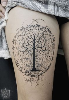 Koit Tattoo, Berlin. White Tree of Gondor theme with quotes, black tattoo. | The Lord of the rings tattoo | Graphic style tattoo | Black tattoo | Inked leg | Geometric tattoo | Tree tattoo | Quote tat