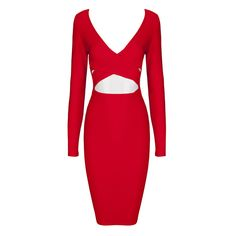 2015 new arrival red white v neck long sleeve keyhole cutout bandage dresses sexy party dress wholesale dropshipping